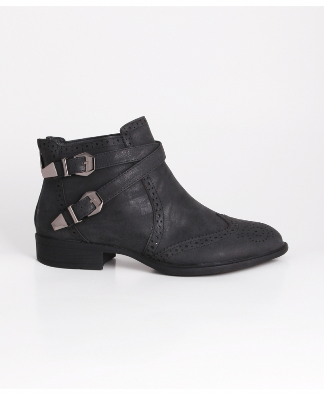 KRISP Zip Back Brogue Ankle Boots