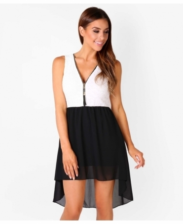Zip Front Contrast Hi Low Dress
