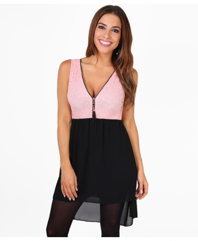 KRISP Zip Front Contrast Hi Low Dress