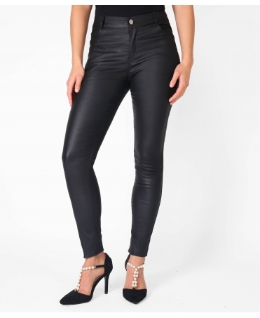 Zip Side Skinny PU Trousers