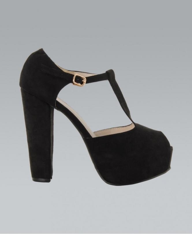 03a8e2914b KrispWOMAN Black Platform T-Bar Peep Toe Heels - Shoes from Krisp ...