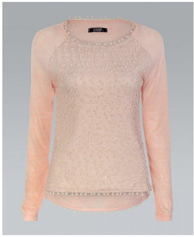 ffa2a301a850cf KrispWOMAN Long Sleeve Knitted Peach/Pink Jumper - Womens from Krisp ...