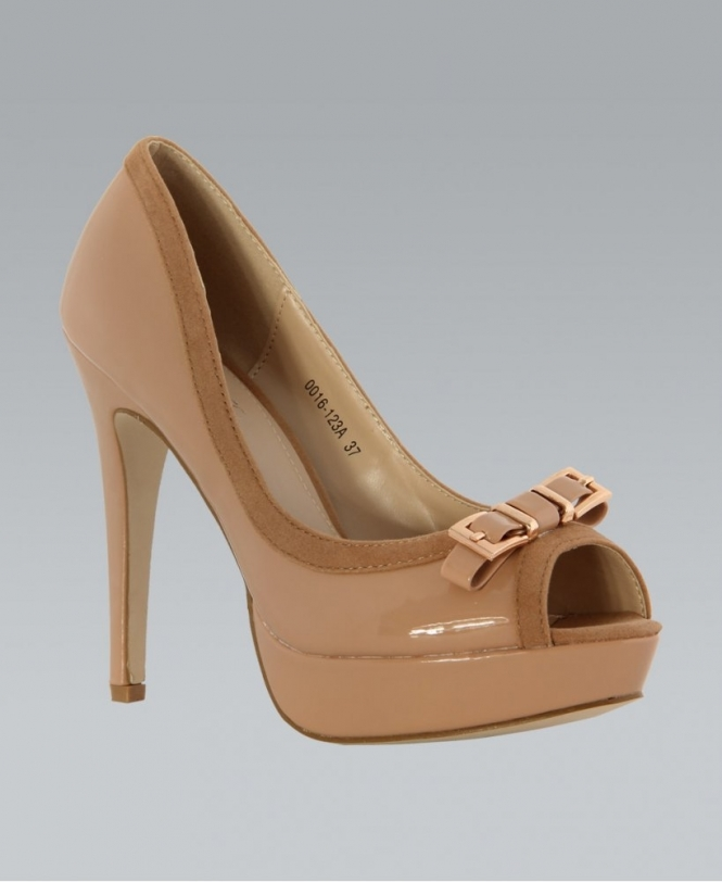 7f50e4f912 KrispWOMAN Nude Patent Open Toe Buckle Bow Heels - Shoes from Krisp ...