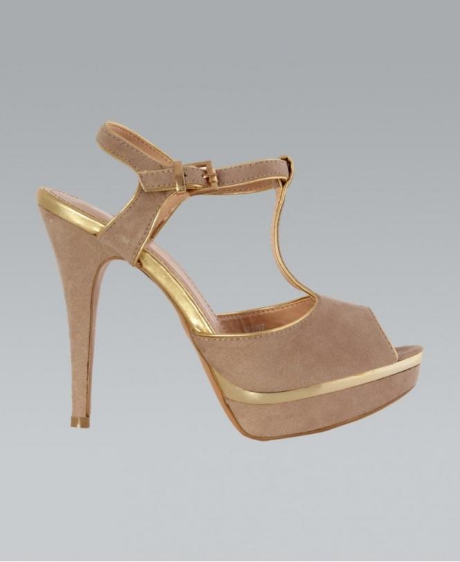 647e258dd7 KrispWOMAN Peep Toe T-bar Nude/Gold Platform Shoe - Shoes from Krisp ...