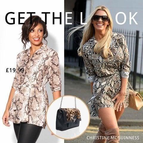f5f8b53a0d Celebrity Style. Snake print shirt dress by Cristine McGuinness