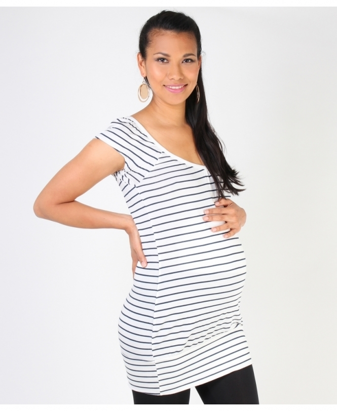 MATERNITY Breton Stripe Long Line Top