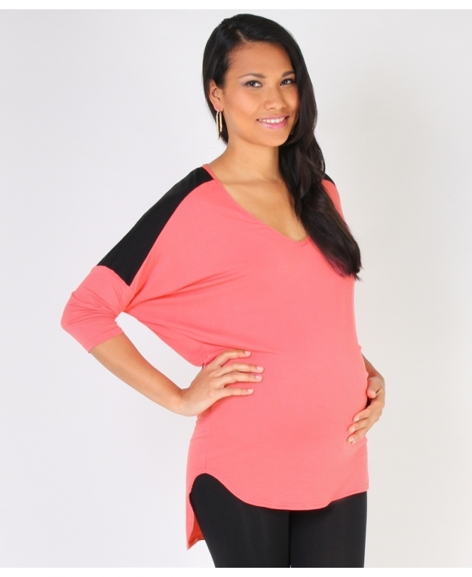 MATERNITY Colour Block Batwing Top