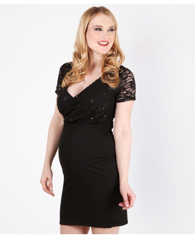 MATERNITY Sequin Lace Contrast Dress