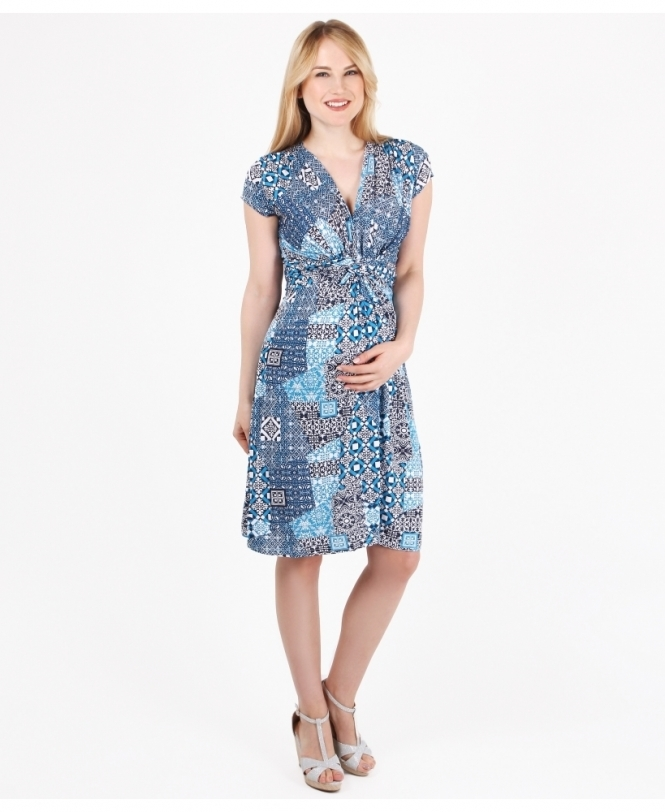 MATERNITY Tile Print Knot Front Dress
