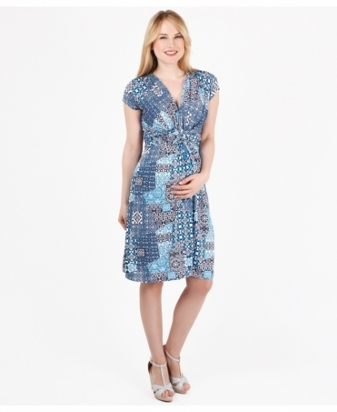 Tile Print Knot Front Dress
