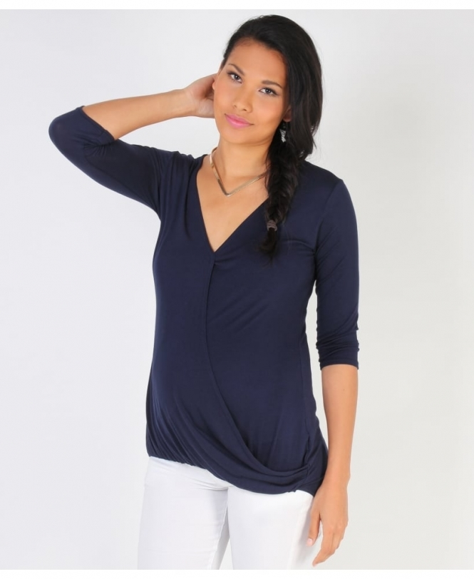 MATERNITY Twisted Front 3/4 Sleeve Navy Top