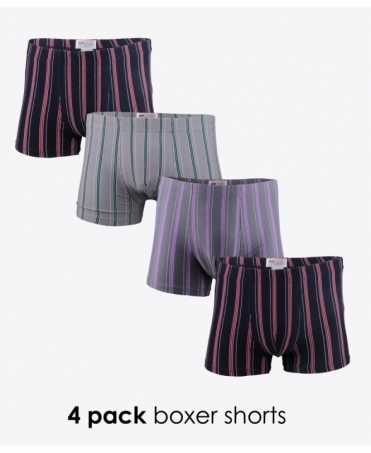 4 Pack Wide Stripe Boxer Shorts