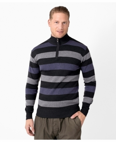 Half Zip Striped Woollen Jumper