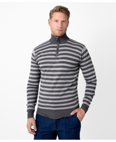 Half Zip Thin Stripe Jumper