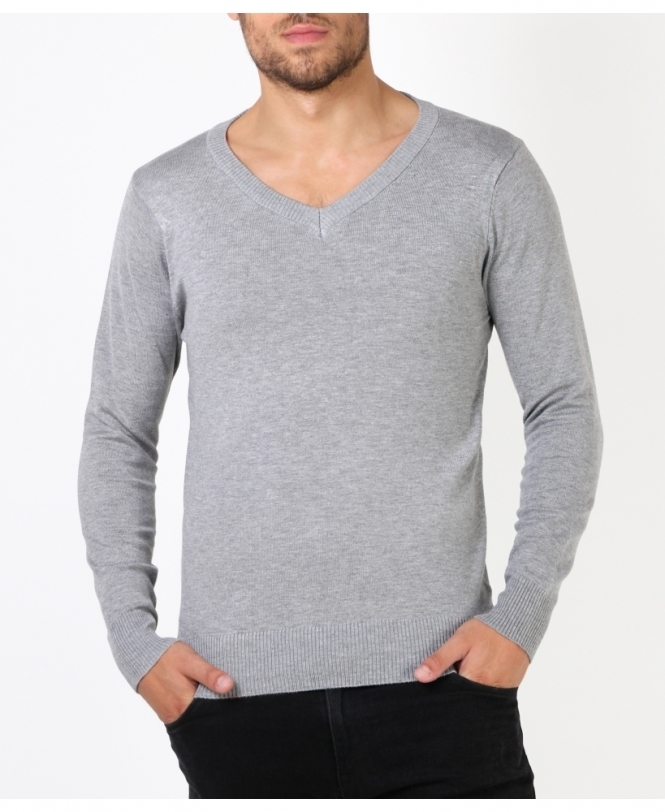 MENS Plain V-Neck Jumper