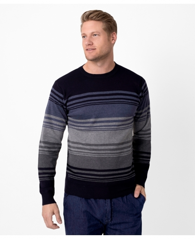 MENS Striped Crew Neck Woollen Jumper