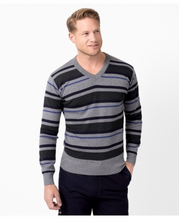 Striped V-Neck Woollen Jumper