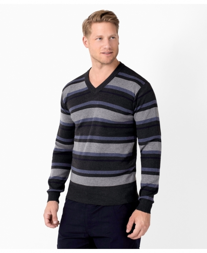 MENS Striped V-Neck Woollen Jumper