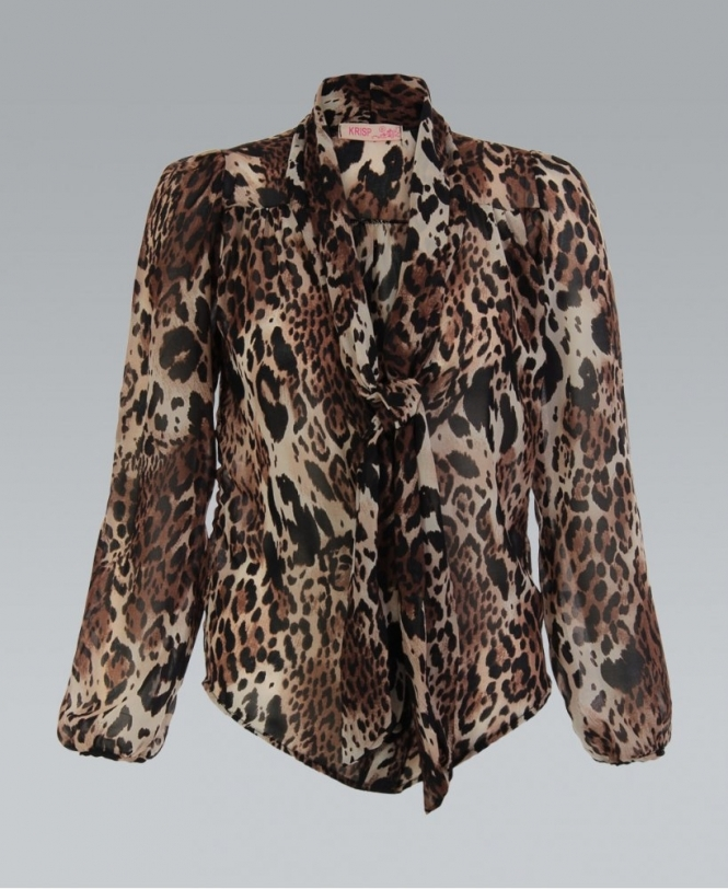 9adbb3e5063047 MISSKrisp Brown Animal Print Pussy Bow Tie Chiffon Blouse - Womens ...