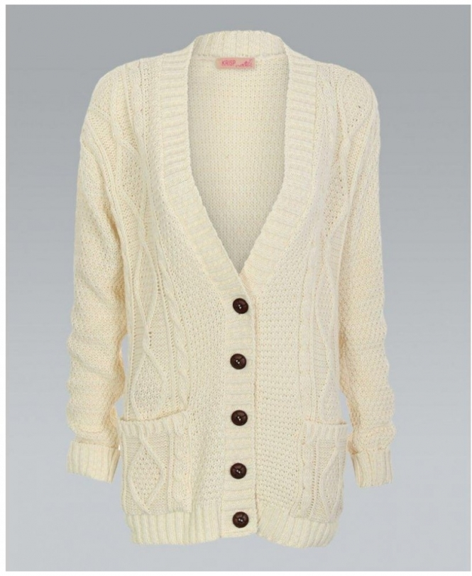 MISSKrisp Chunky Cable Knit Button Down Cream Cardigan - Womens from ... 75f8c6a3f