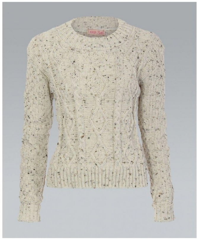 MISSKrisp Chunky Cable Knit Cream Grey Cropped Jumper - Womens from ... fbe918c26