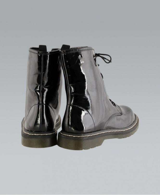 039213c35 MISSKrisp Lace Shiny Black PVC Ankle Boots