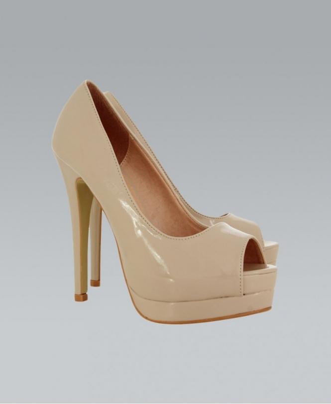 9072a19f08 MISSKrisp Nude Open Toe High Heel Patent Shoe - Shoes from Krisp ...