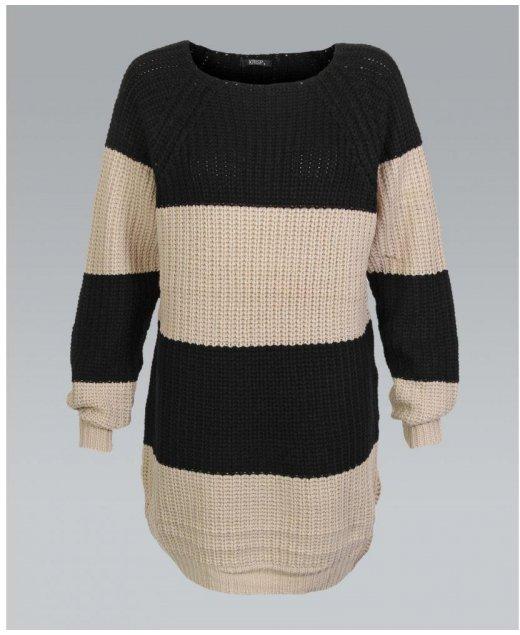 Misskrisp Oversized Nude And Black Stripe Chunky Knit Jumper Dress