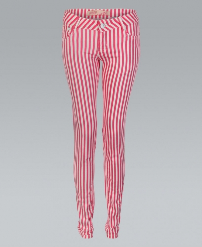 2914a18ad322 MISSKrisp Pink And White Striped Skinny Jeans - Womens from Krisp ...