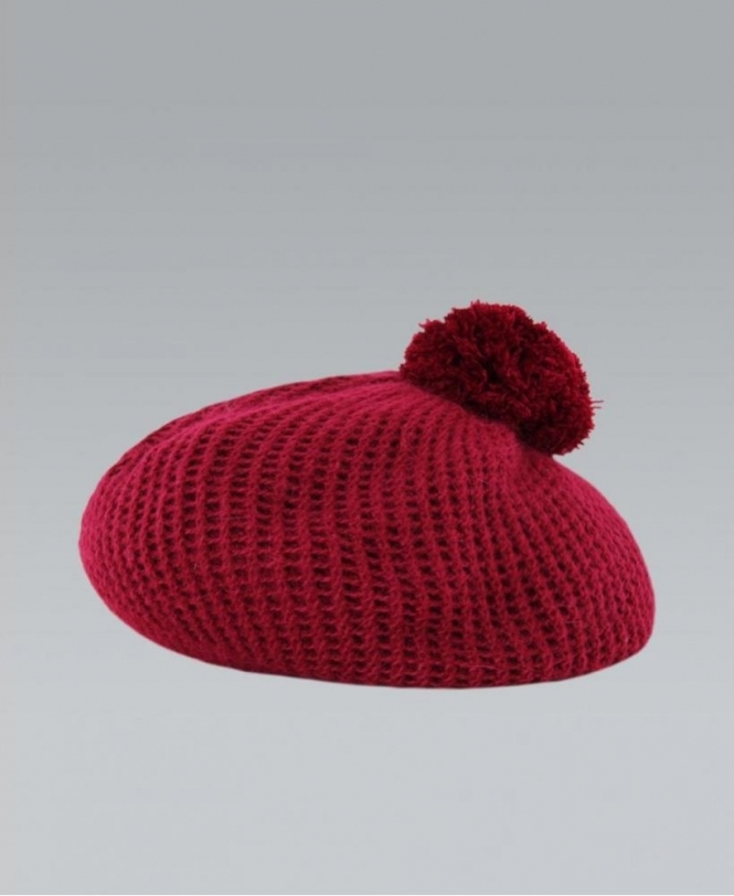 MISSKrisp Red Bobble Woolen Knit Beret Hat - Accessories from Krisp ... cd699ec360b