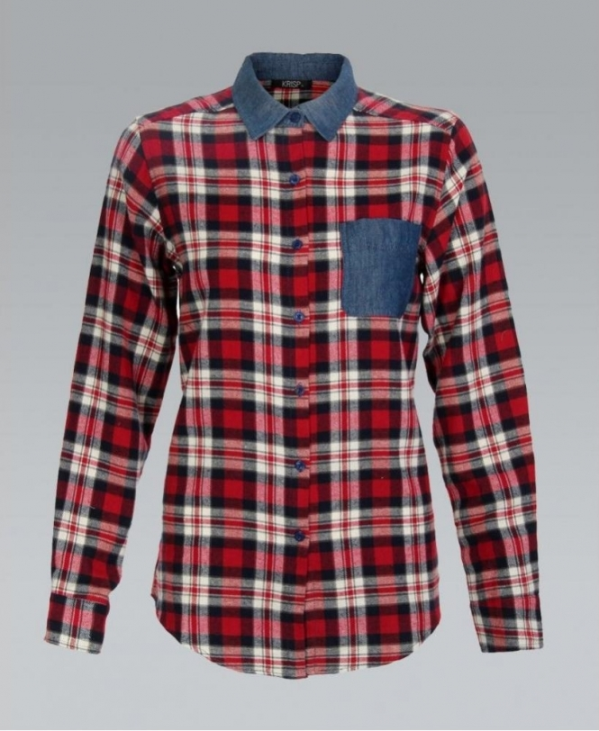 f17b0904ee MISSKrisp Red Check Shirt with Denim Collar and Pocket - Womens from ...