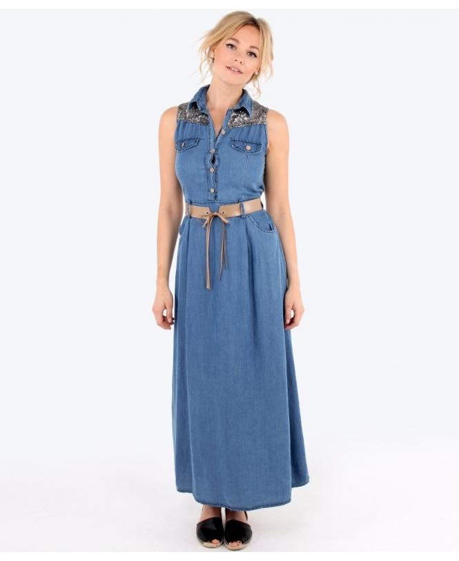 12949165a7 Sequin Yoke Denim Maxi Dress - Womens from Krisp Clothing UK