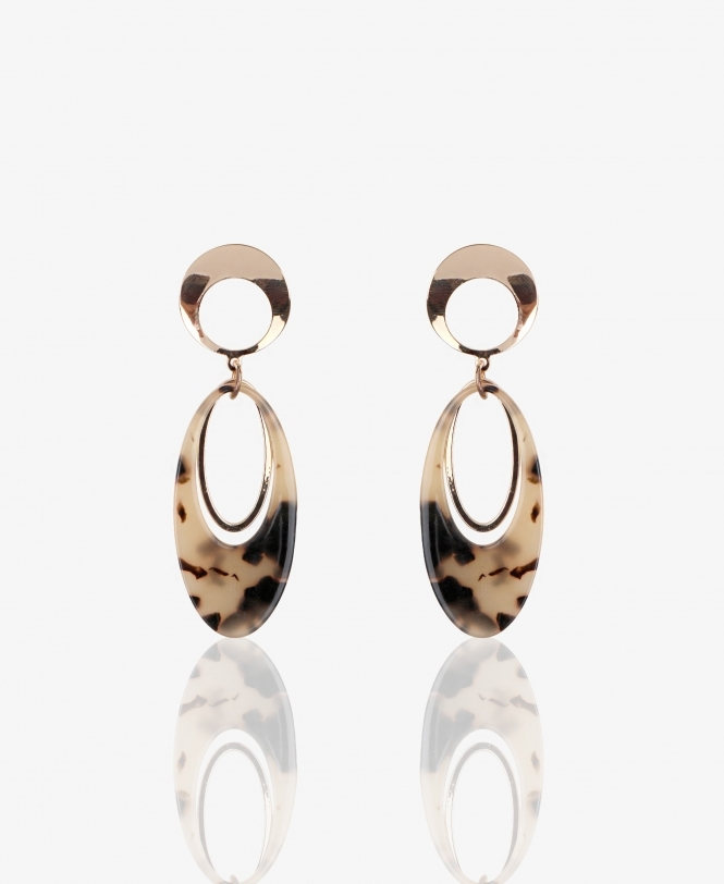 KRISP Tortoise Shell Oval Drop Earrings